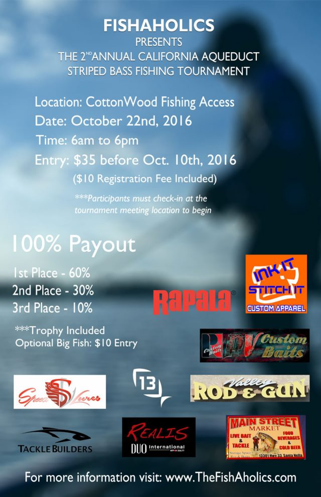 2nd Annual FishAholics California Aqueduct Striped Bass Tournament